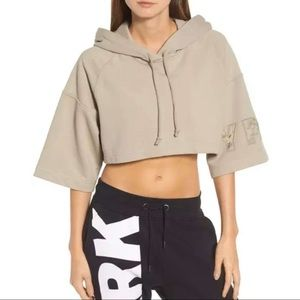 • Ivy Park Ivory Cropped Boxy Hoodies •